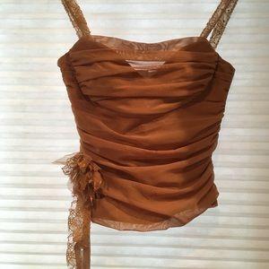 BCBG MaxAzria gold bustier corset top